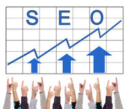 Seo concept pointed by several fingers Royalty Free Stock Images