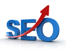 Seo Concept with Red Arrow. This is a 3d Rendered Computer Generated Image.  on White Stock Image