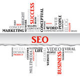 SEO concept related words in tag cloud Stock Images