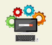 SEO concept, search engine, search process. Stock Image