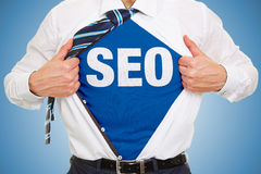 SEO concept on a shirt. Of a business man stock photo