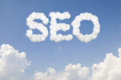 SEO concept text in clouds Royalty Free Stock Photos