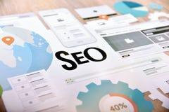SEO-concept voor website en mobiele banner Royalty-vrije Stock Afbeeldingen