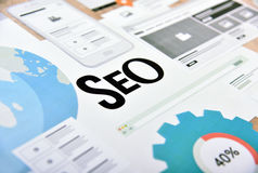 SEO concept for website and mobile website development and optimization. App development, responsive design optimization, social media and network royalty free stock photo