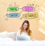 SEO concept with woman using laptop royalty free stock images