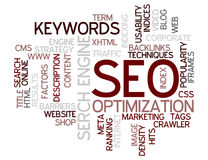 SEO Concept Word Cloud. A Wordcloud showing many Tags of a Topic Royalty Free Stock Photos