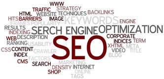 SEO Concept Word Cloud. A Wordcloud showing many Tags of a Topic Royalty Free Stock Photo
