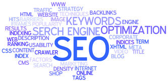 SEO Concept Word Cloud. A Wordcloud showing many Tags of a Topic Stock Image