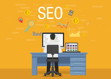 SEO conceptual developer Web Banners in Flat Style stock illustration