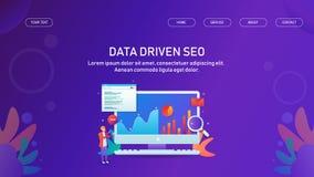 Seo conducido datos, analytics del seo, márketing conducido datos de Internet, plantilla de la bandera de la web ilustración del vector