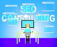 Seo Consulting Represents Search Engines And Consultation Stock Image