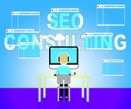 Seo Consulting Represents Search Engines en Overleg stock illustratie