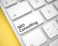 SEO Consulting - Tekst op Witte Toetsenbordsleutel 3d royalty-vrije illustratie