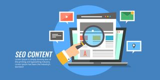 Seo content - content development for search engine optimization, ranking, results. Flat design seo content illustration. vector illustration