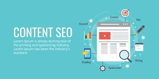 Seo for content marketing, content optimization. Flat design vector banner. Search engine optimization for content marketing. Content optimization concept with Stock Photography