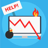 Seo crisis management. Computer is on fire, bomb, table Help. vector illustration. Seo crisis management. Computer is on fire, bomb, table Help.  vector flat Stock Photography