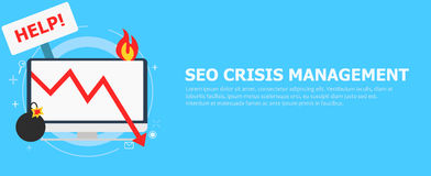 Seo crisis management. Computer is on fire, bomb, table Help. vector illustration. Seo crisis management. Computer is on fire, bomb, table Help.  vector flat Stock Photos