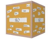 SEO 3D cube Corkboard Word Concept Stock Image