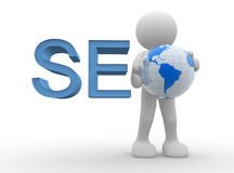 Seo. 3d people - man, person with earth globe Royalty Free Stock Photography