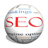 SEO 3D sphere Word Cloud Concept. With great terms such as search, engine, optimization and more Stock Images
