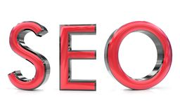 Seo 3d word. The seo word 3d rendered red and gray metallic color , isolated on white background Stock Photos