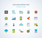 Seo and data protection icons Royalty Free Stock Images