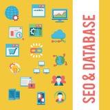 SEO & databassymbolsuppsättning Arkivfoto