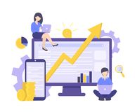 SEO, de bedrijfsgroei, investeert geld, Internet-bevorderingsconcept stock illustratie