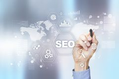 SEO De motoroptimalisering van het onderzoek Digitaal online marketing en Internet-technologieconcept stock foto's