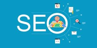 SEO - de Optimalisering van de Motor van het Onderzoek Het digitale marketing vlakke ontwerp van de Webbanner Stock Fotografie