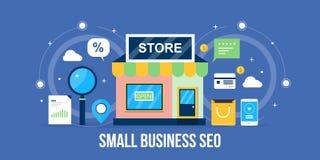 Seo de petite entreprise - concept local d'optimisation d'affaires Bannière plate de seo de conception illustration stock
