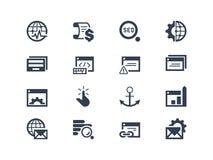 SEO De pictogrammen van de zoekmachineoptimalisering Stock Afbeelding