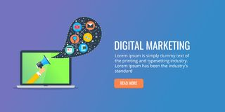 Seo de vente de Digital, technologie sociale de media de concept de communication Bannière plate de conception Images libres de droits