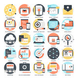 SEO and Development. Abstract vector collection of colorful flat SEO and development icons. Design elements for mobile and web applications Stock Photography