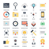 SEO and Development. Abstract vector set of colorful flat SEO and development icons. Creative concepts and design elements for mobile and web applications Royalty Free Stock Images