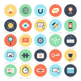 SEO and Development. Abstract vector set of colorful flat SEO and development icons. Creative concepts and design elements for mobile and web applications Royalty Free Stock Photography