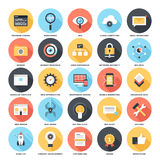 SEO and Development. Abstract vector set of colorful flat SEO and development icons with long shadow. Creative concepts and design elements for mobile and web Stock Image
