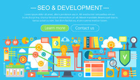 SEO and development concept design infographics template design, web header seo icons elements. Vector illustration. SEO and development concept design Royalty Free Stock Photography