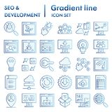 Seo and development flat icon set, computing symbols collection, vector sketches, logo illustrations, optimization signs. Blue gradient pictograms package royalty free illustration