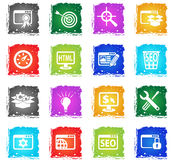 Seo and development icon set. Seo and development web icons in grunge style for user interface design Stock Photos