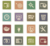 Seo and development icon set. Seo and development web icons for user interface design Stock Images