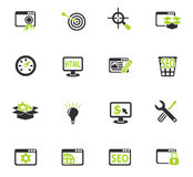 Seo and development icon set. Seo and development web icons for user interface design Royalty Free Stock Photo