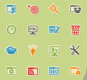 Seo and development icon set. Seo and development web icons for user interface design Royalty Free Stock Image