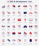 SEO and development icons. 42 SEO and development icon for web design. Vector illustration Royalty Free Stock Photo