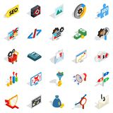 SEO development icons set, isometric style. SEO development icons set. Isometric set of 25 seo development vector icons for web isolated on white background Royalty Free Stock Photography