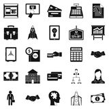 SEO development icons set, simple style. SEO development icons set. Simple set of 25 seo development vector icons for web isolated on white background Stock Images
