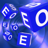 SEO Dice Background Shows Optimized Search Engine vector illustration