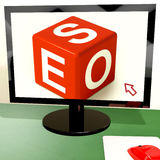 Seo Dice On Computer Shows Online Web Optimization Stock Images