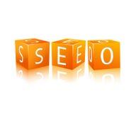 SEO die van kubussen wordt samengesteld Stock Afbeelding