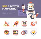 SEO- & Digital marknadsföringssymboler Royaltyfria Bilder